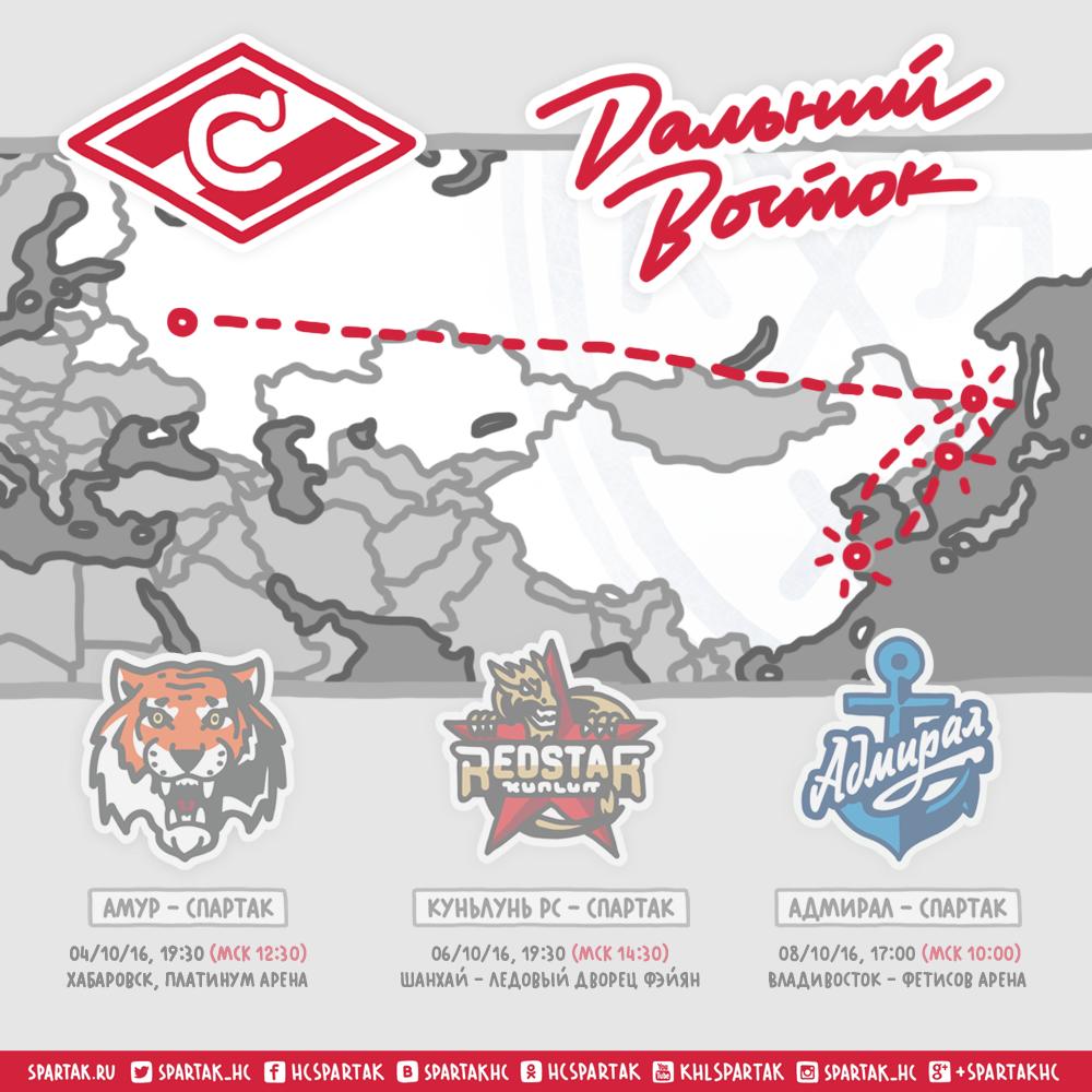 «Спартак» отправился на выезд в Хабаровск, Шанхай и Владивосток